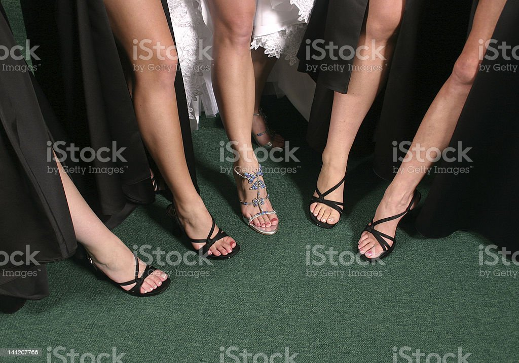 Bridal Party showing off their sexy legs royalty-free stock photo