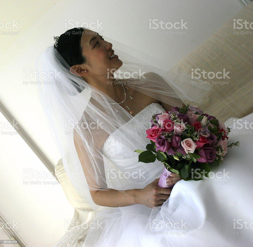 Bridal portrait (high contrast/shallow DOF) royalty-free stock photo