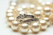 Bridal rings on pearls