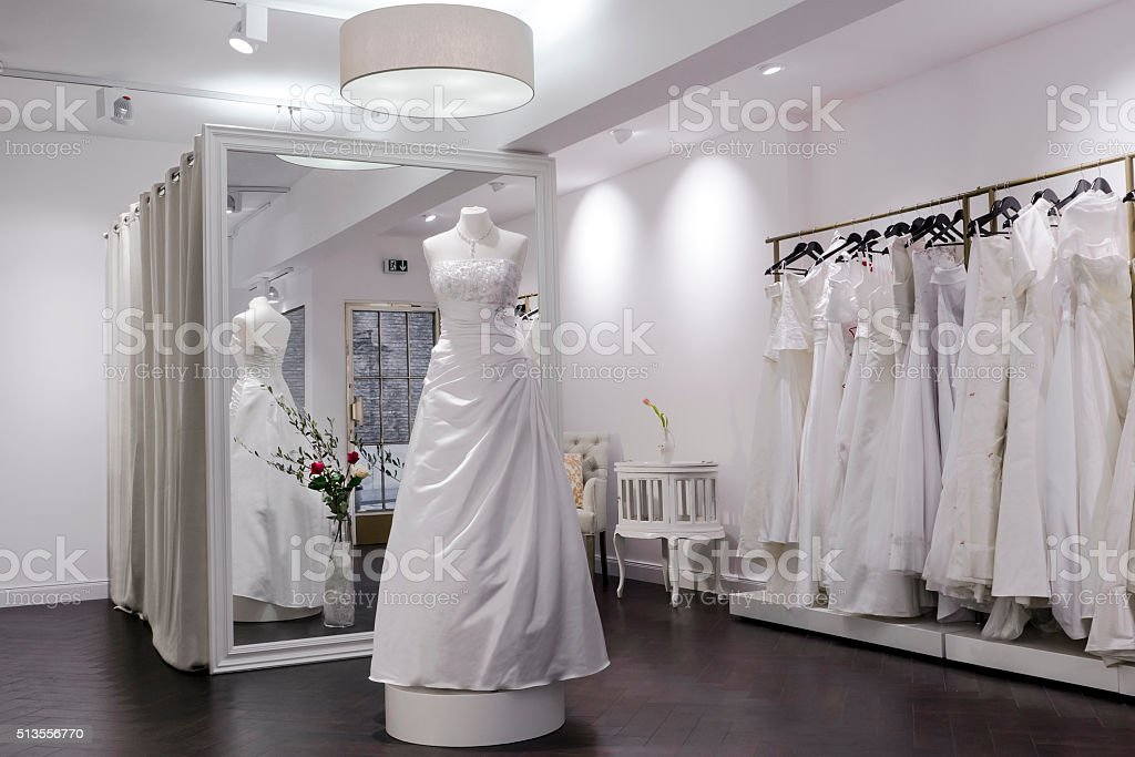 Bridal shop, store, mannequin and large mirror, changing room stock photo