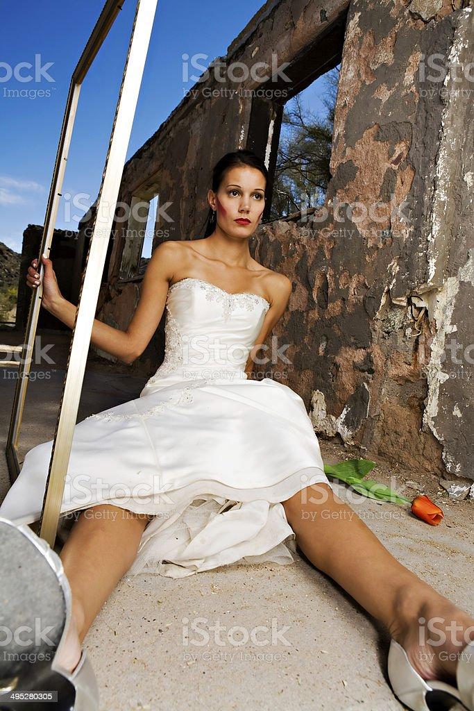 Bridal trash the dress stock photo