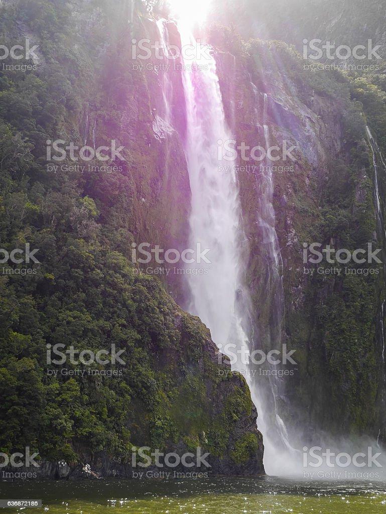 Bridal Veil Fall - Milford Sound, New Zealand stock photo