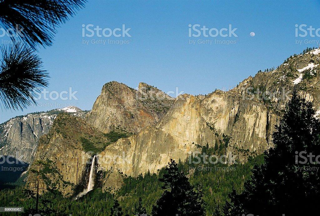 Bridalveil falls Yosemite and full moon royalty-free stock photo