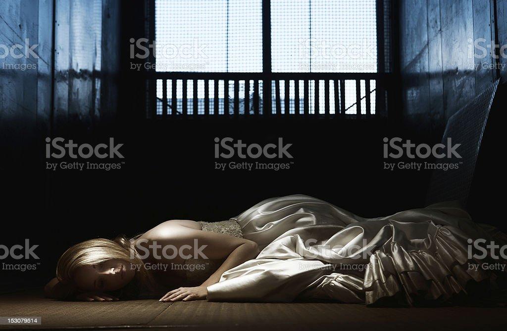 Bride alone stock photo