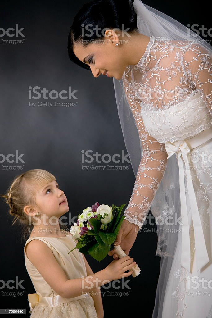 Bride and bridesmaid royalty-free stock photo
