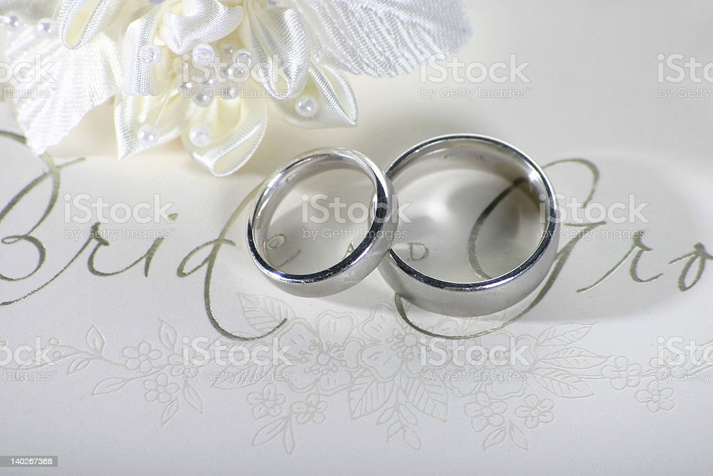Bride and groom card stock photo