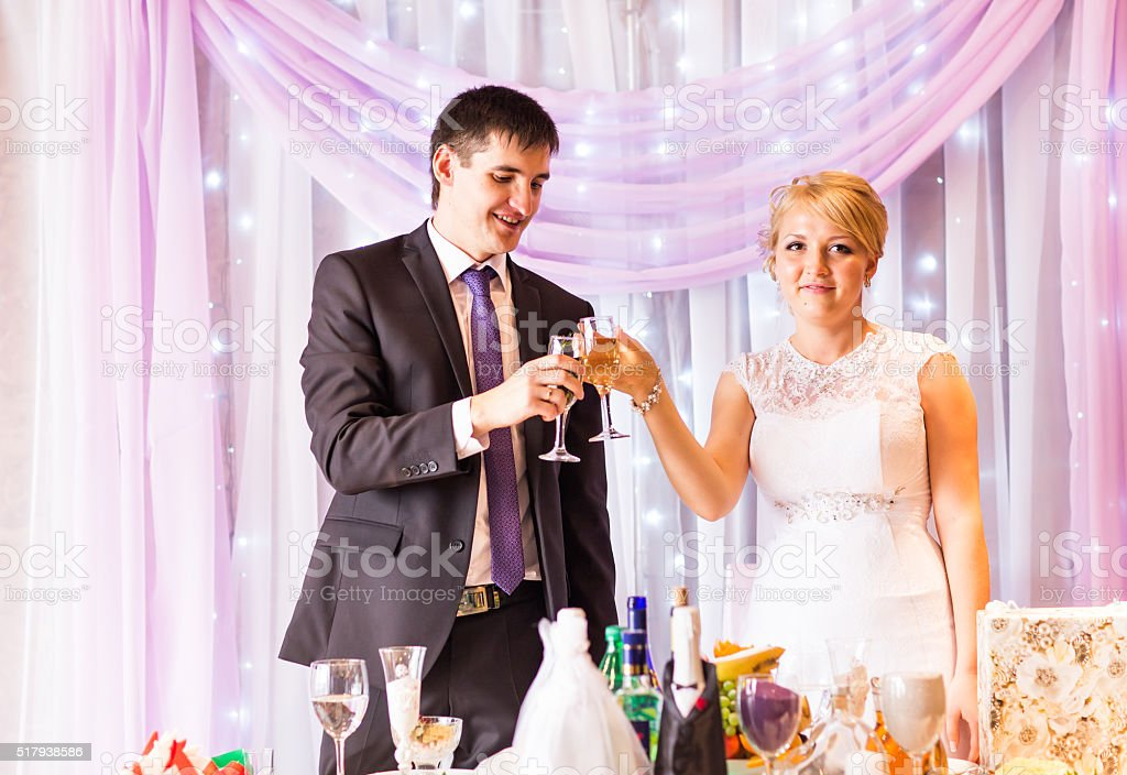 Bride And Groom Celebrating  At Reception stock photo