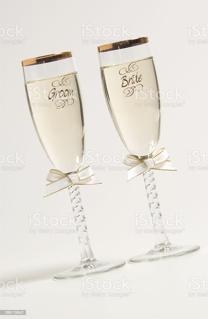Bride and groom champagne glasses royalty-free stock photo