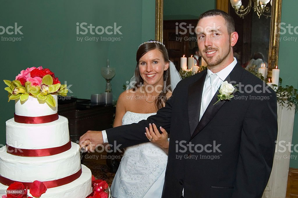 Bride and Groom Cut Cake royalty-free stock photo