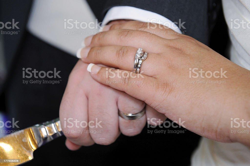 Bride and groom cuting cake closeup royalty-free stock photo