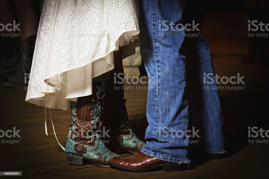 Bride and Groom Dancing Boots stock photo