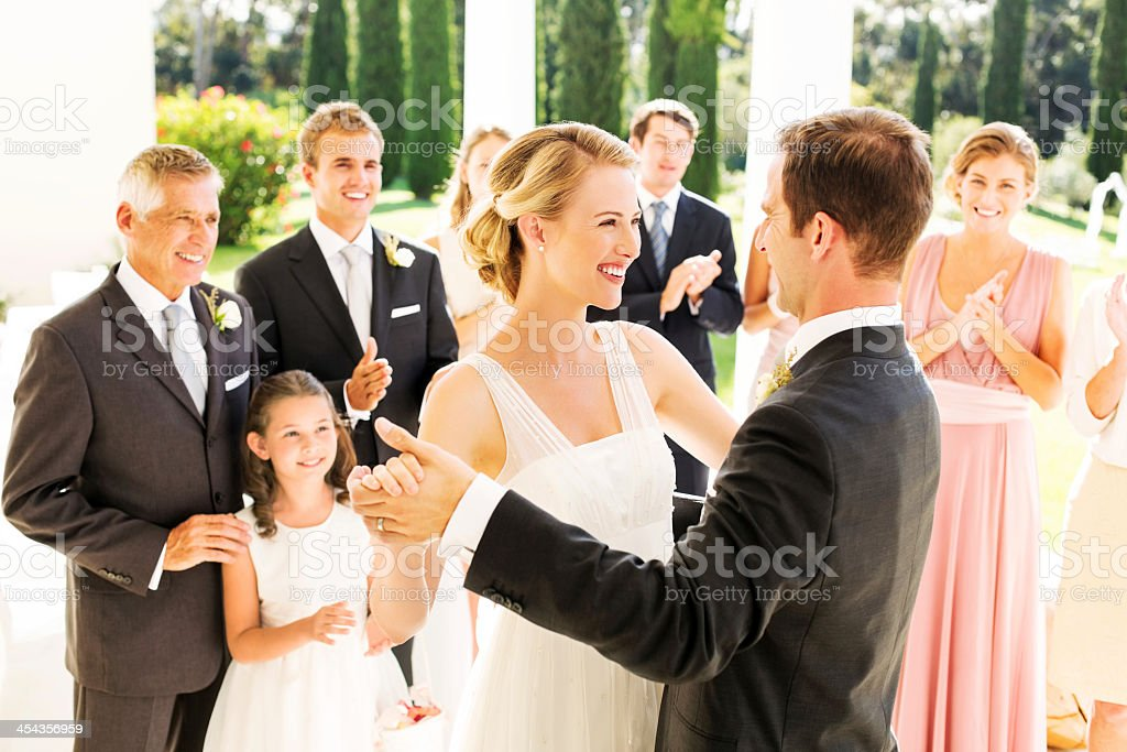 Bride And Groom Dancing During Reception royalty-free stock photo