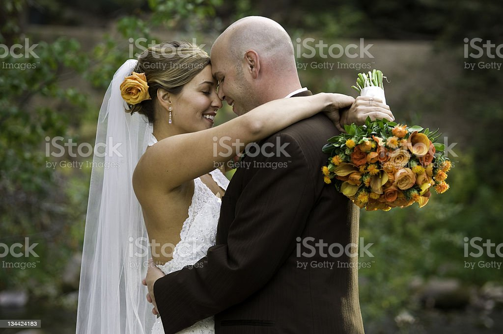 Bride and Groom Embrace on Wedding Day royalty-free stock photo