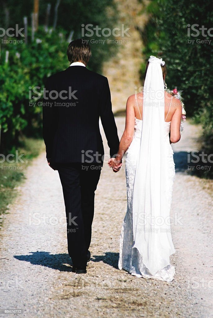 Bride and Groom enjoying the first few moments of marriage royalty-free stock photo