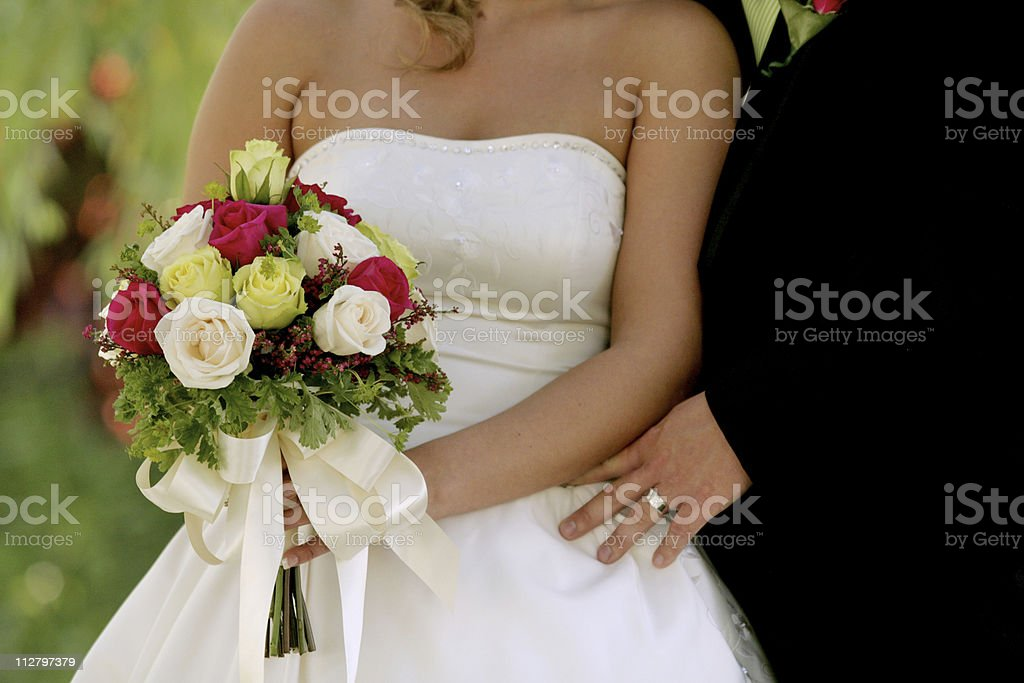 Bride and Groom Flowers royalty-free stock photo