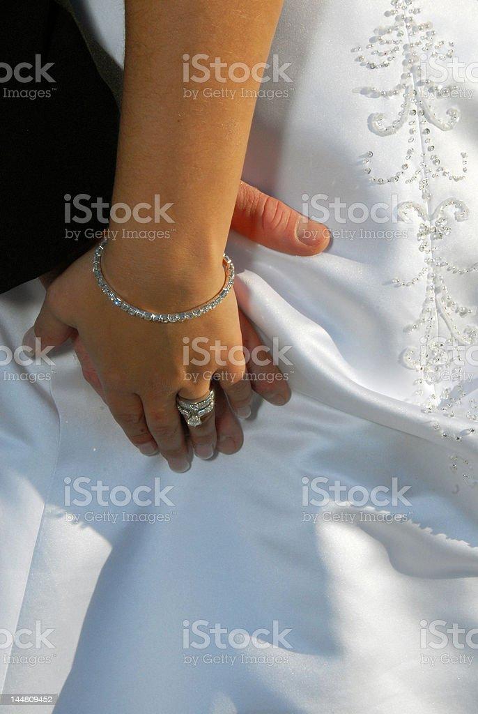 O noivo e a noiva de mãos foto royalty-free