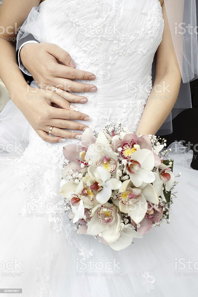 bride and groom hands with wedding rings royalty-free stock photo