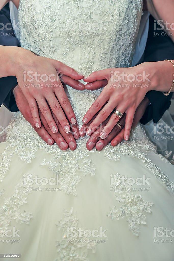 bride and groom hug, wedding dress stock photo