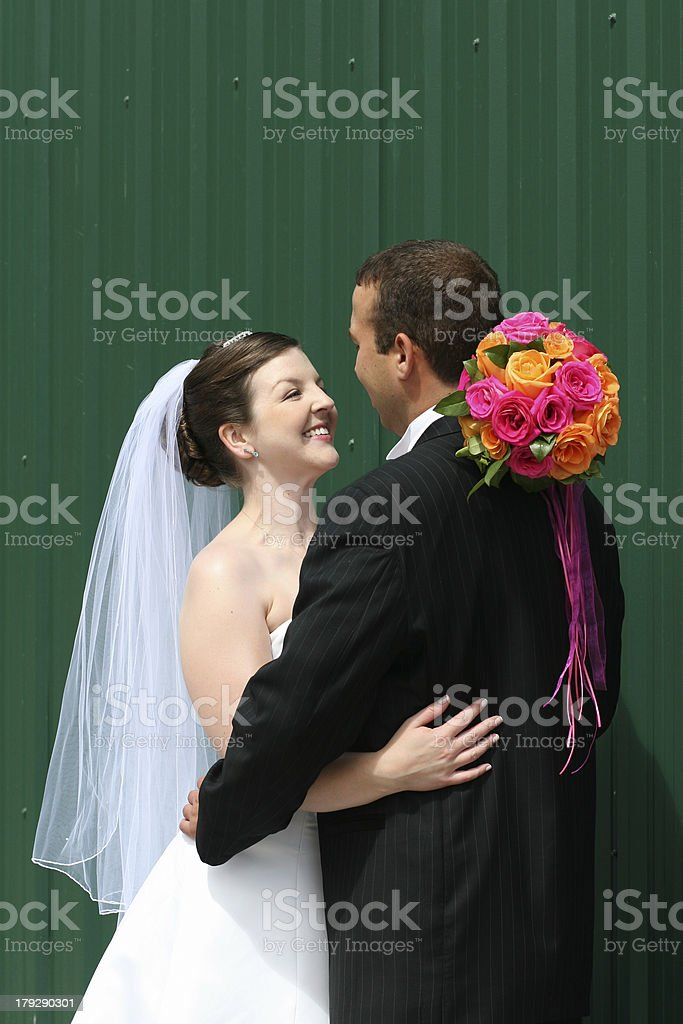Bride and Groom hugging royalty-free stock photo