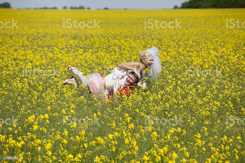 Bride and groom in canola fields royalty-free stock photo