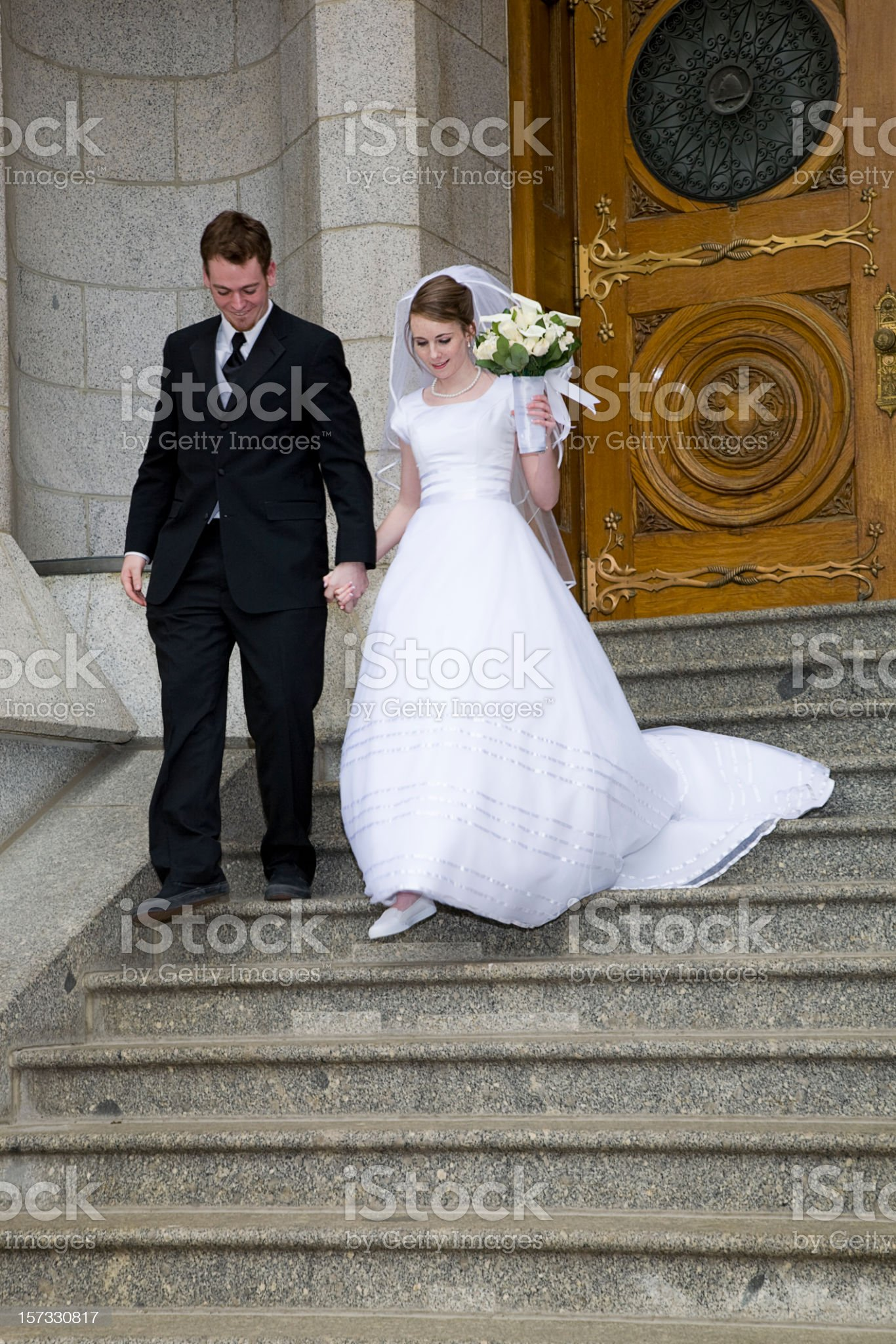 Bride and Groom in Doorway royalty-free stock photo