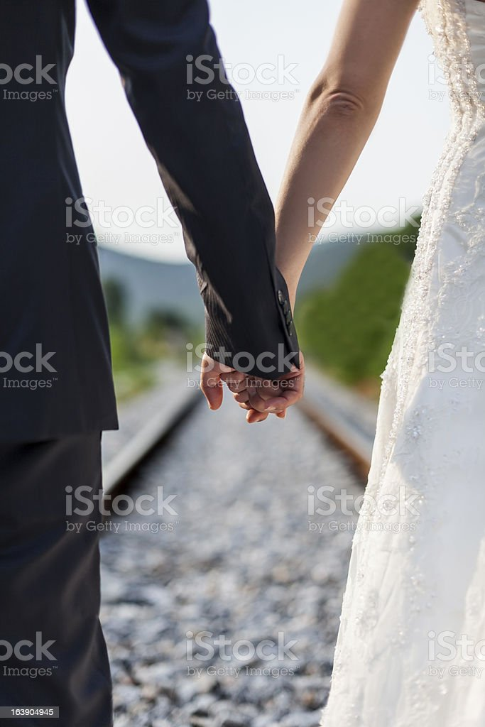 Bride and groom in nature royalty-free stock photo