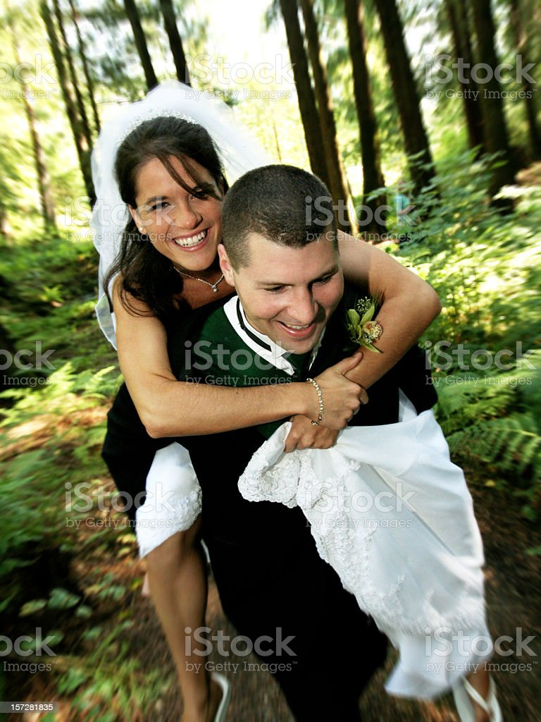 Bride and Groom in the Forest stock photo
