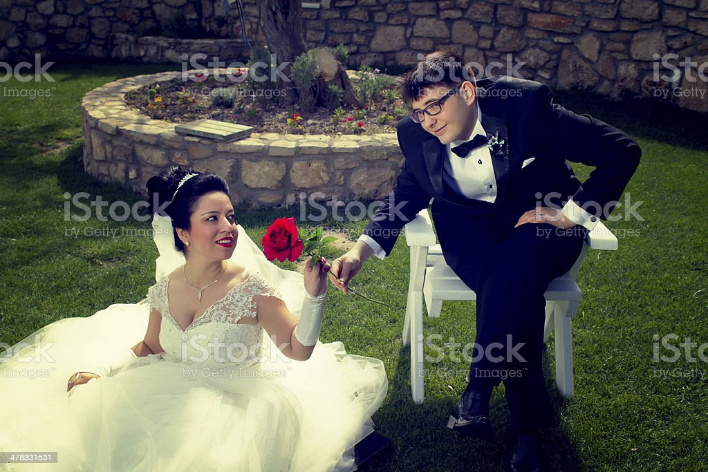 Bride And Groom In The Garden royalty-free stock photo