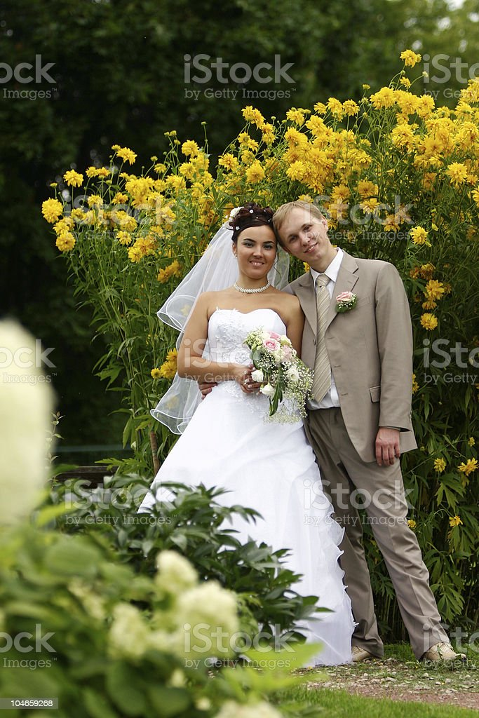 bride and groom in the park stock photo