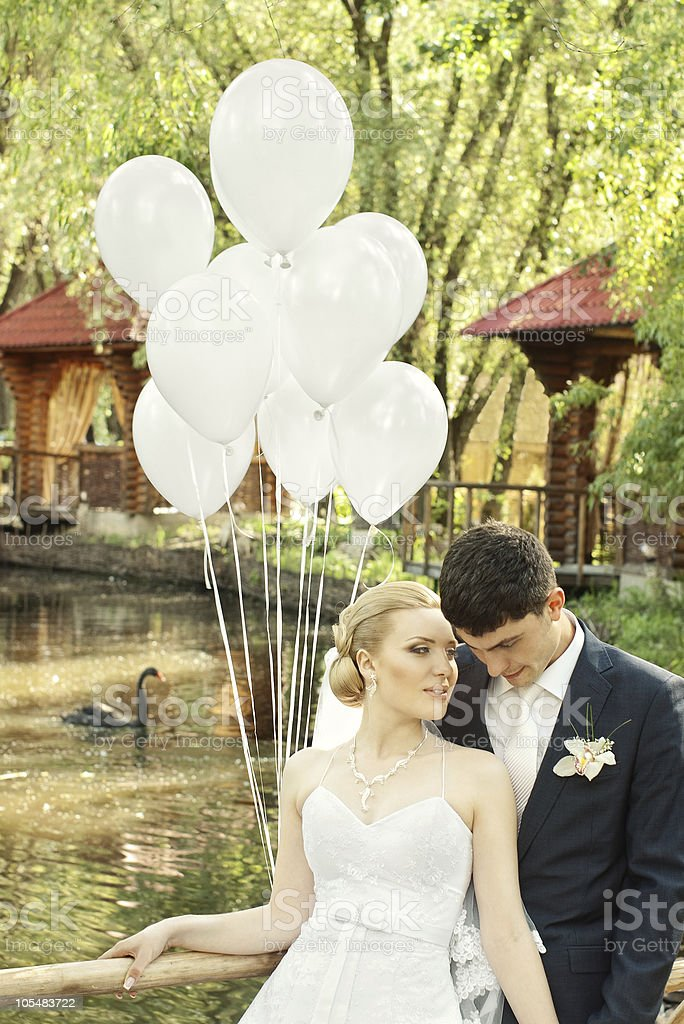bride and groom in the summer royalty-free stock photo