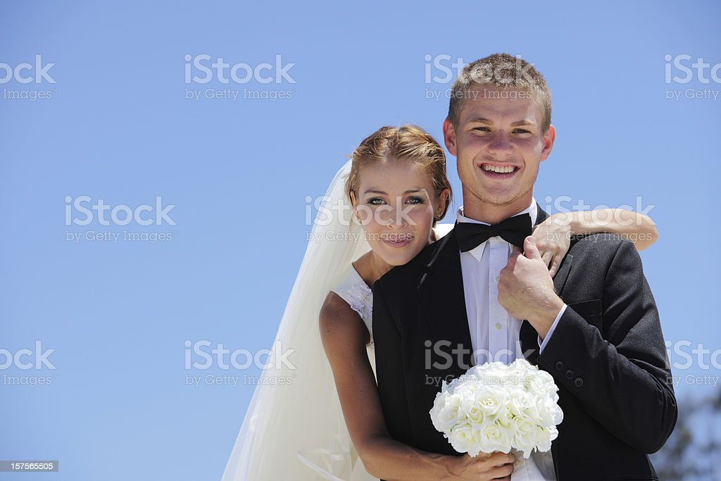 Bride and Groom in the Sun royalty-free stock photo