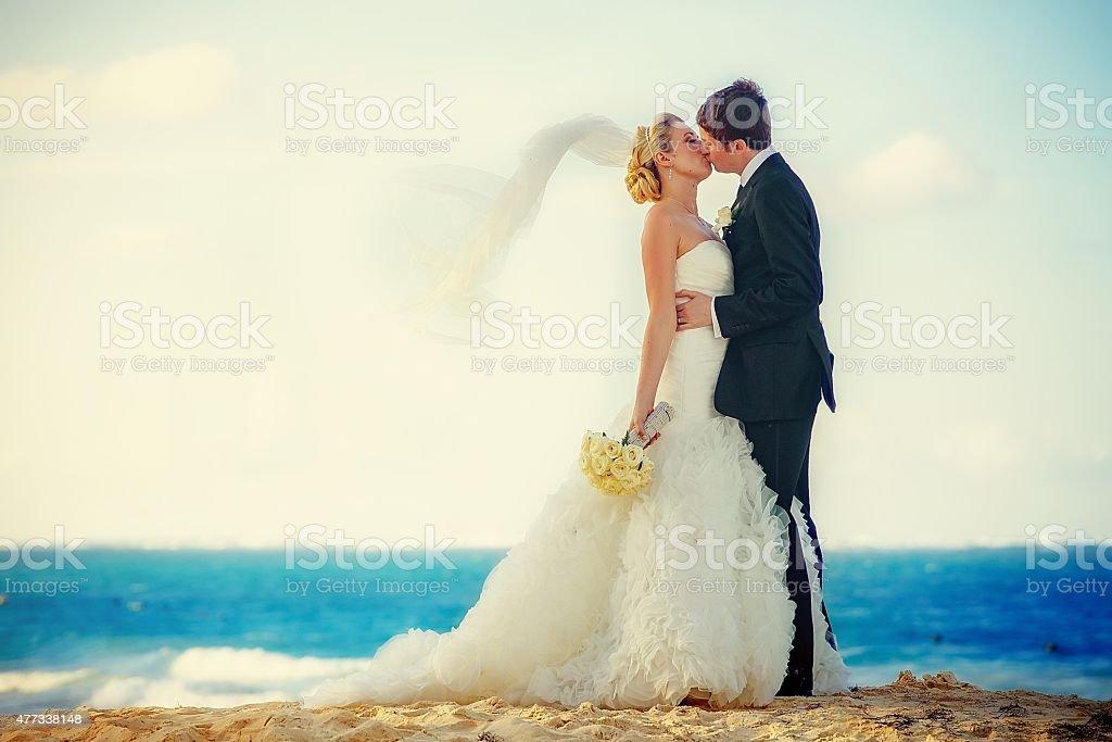 Bride and Groom Kiss on the Beach stock photo