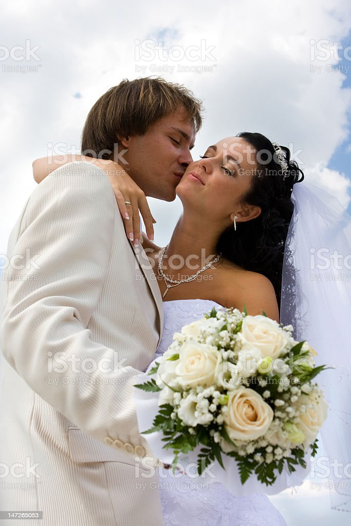 Bride and groom kissing royalty-free stock photo