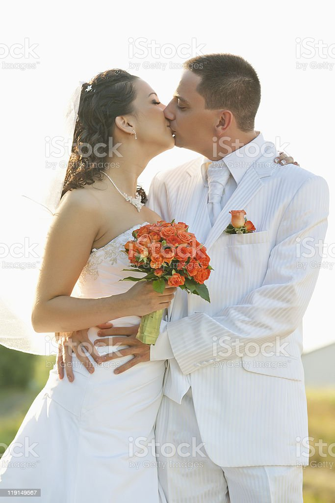 bride and groom kissing with isolated background stock photo