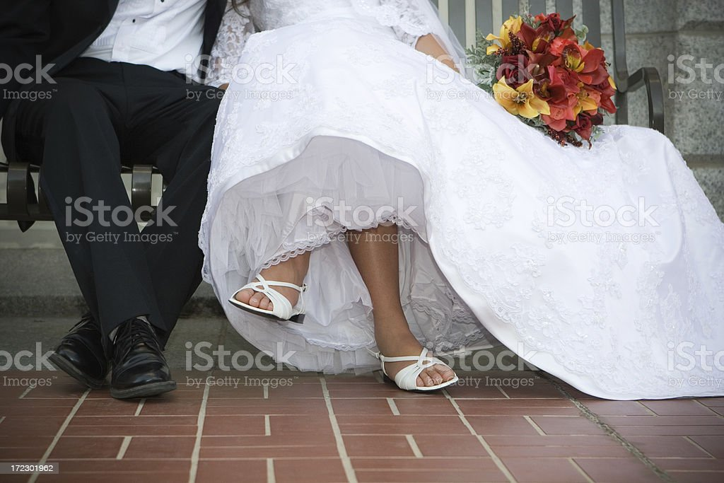 Bride and Groom Legs royalty-free stock photo
