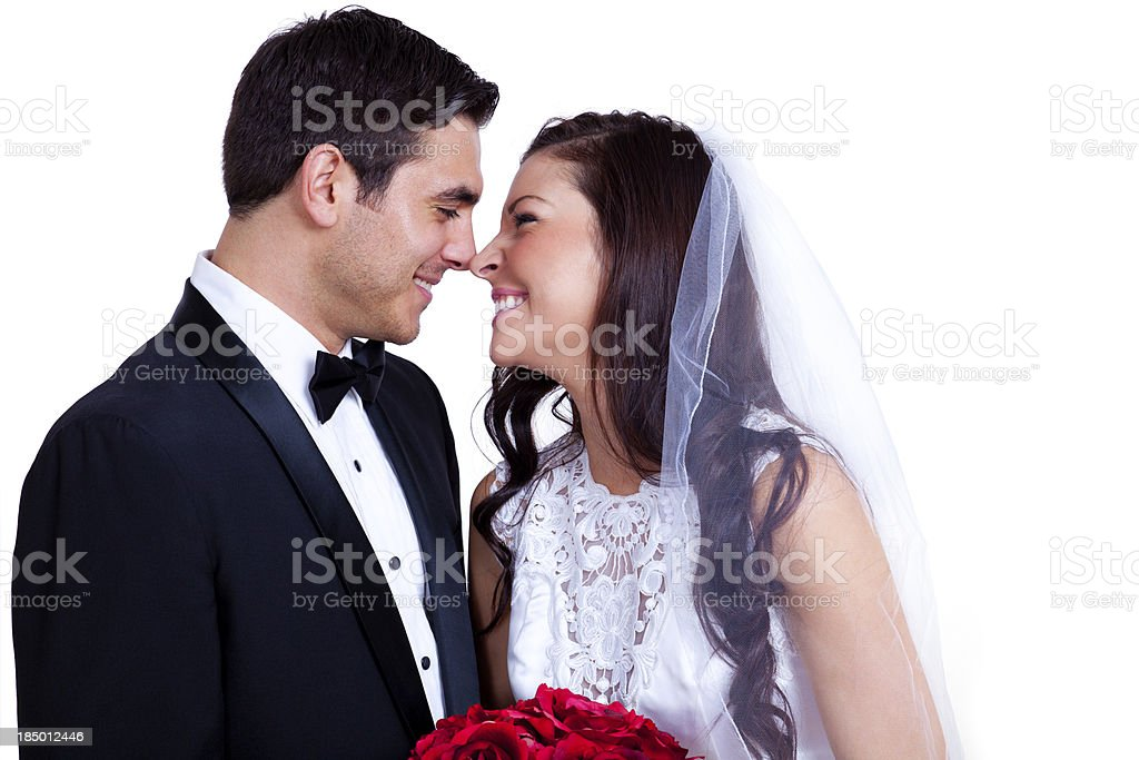 Bride and Groom Looking at Each Other royalty-free stock photo