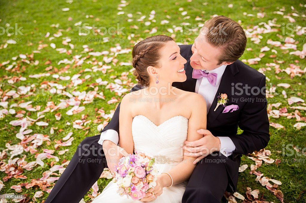Bride and groom looking into each other's eyes royalty-free stock photo