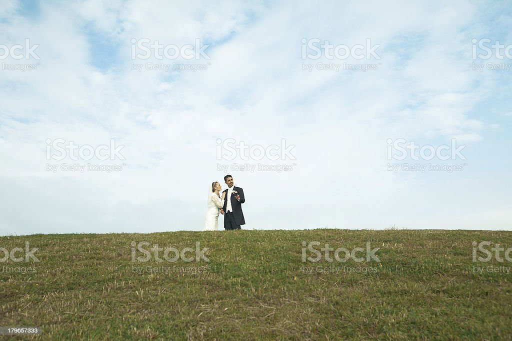 Bride and groom on a hill royalty-free stock photo