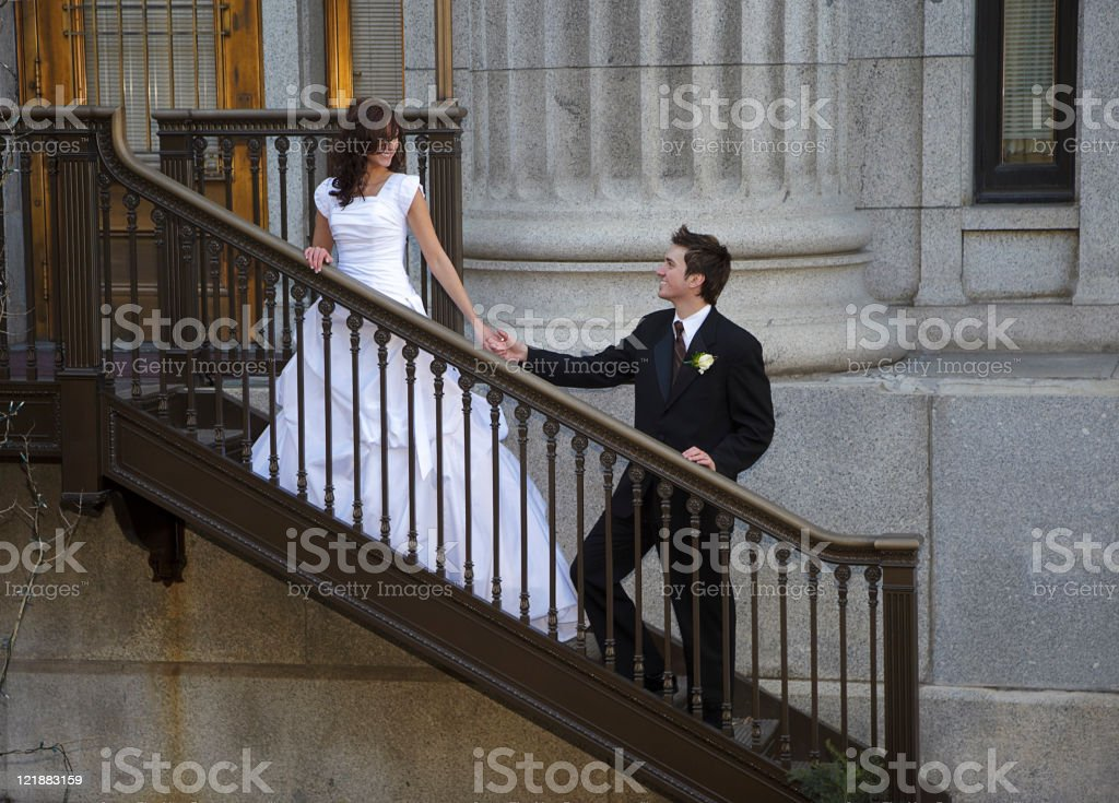 Bride and Groom on Stairs royalty-free stock photo