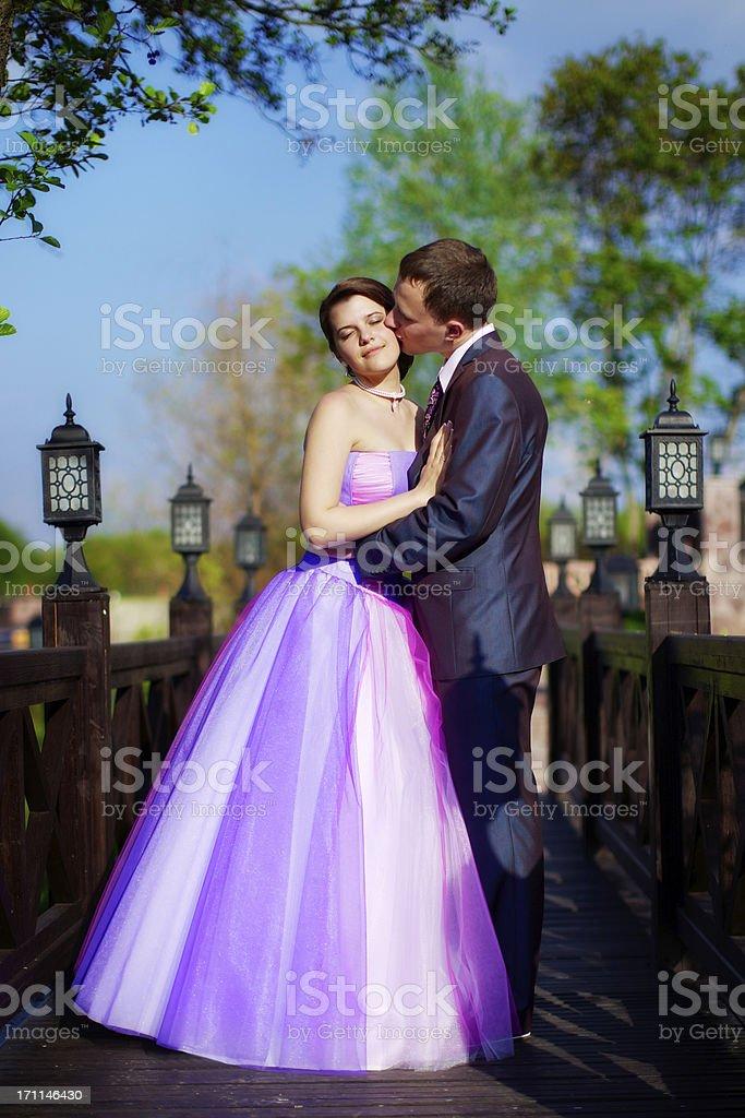 Bride and groom on the bridge royalty-free stock photo