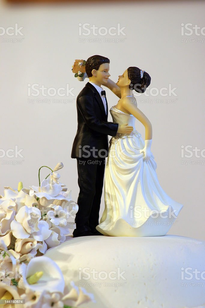 Bride and Groom on Wedding Cake royalty-free stock photo