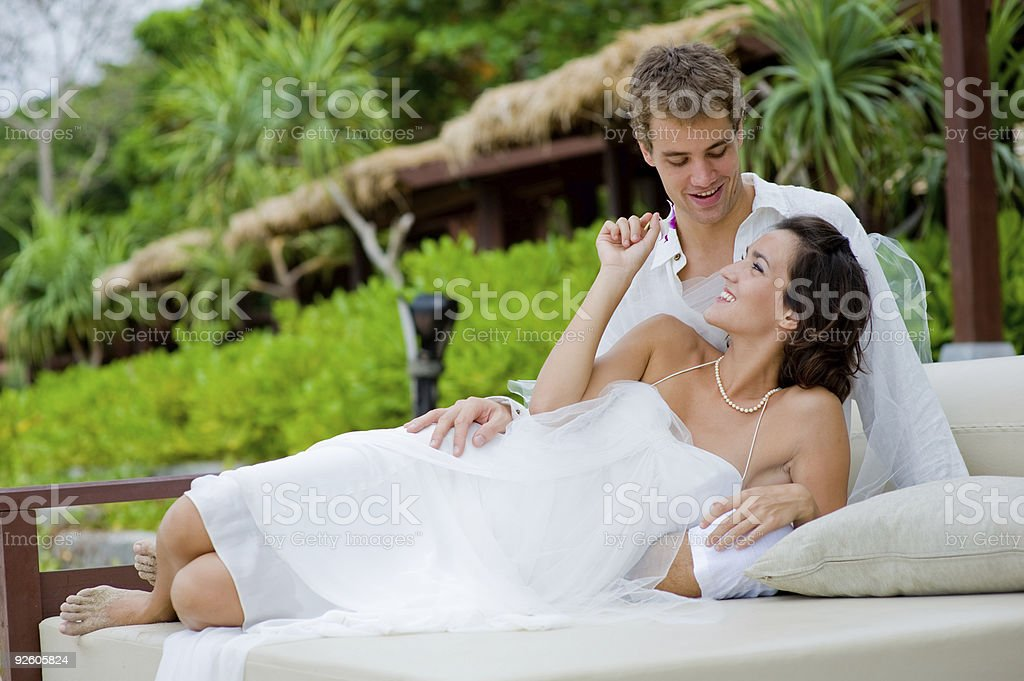 Bride and Groom Outdoors royalty-free stock photo
