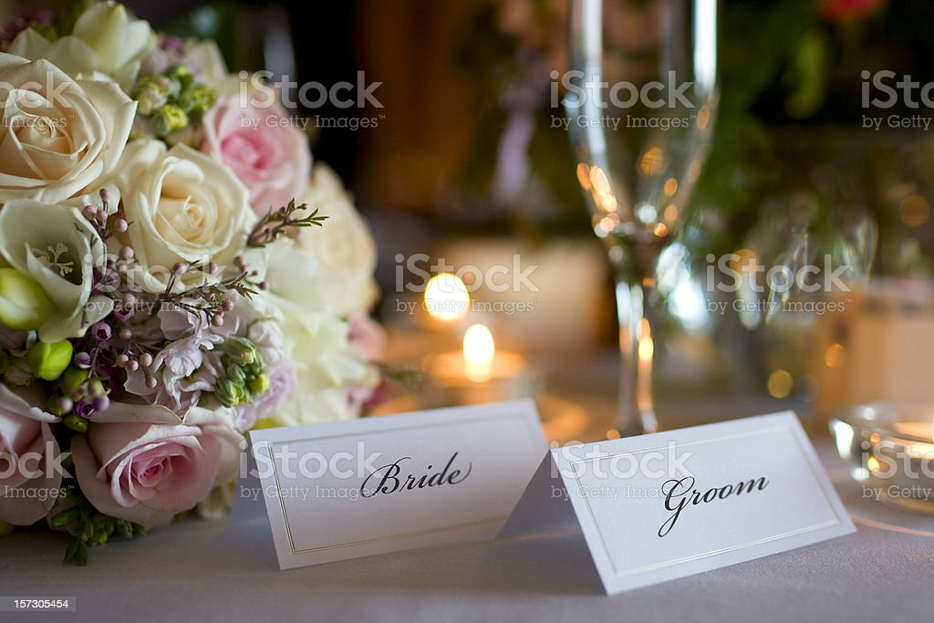 Bride and Groom Place Cards with Bouquet at Wedding Reception royalty-free stock photo