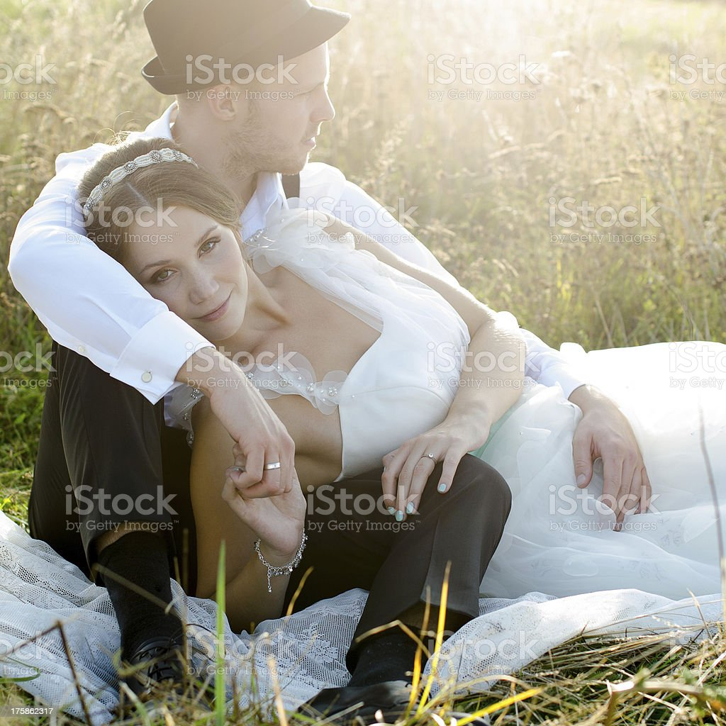 Bride and groom posing outdoor royalty-free stock photo
