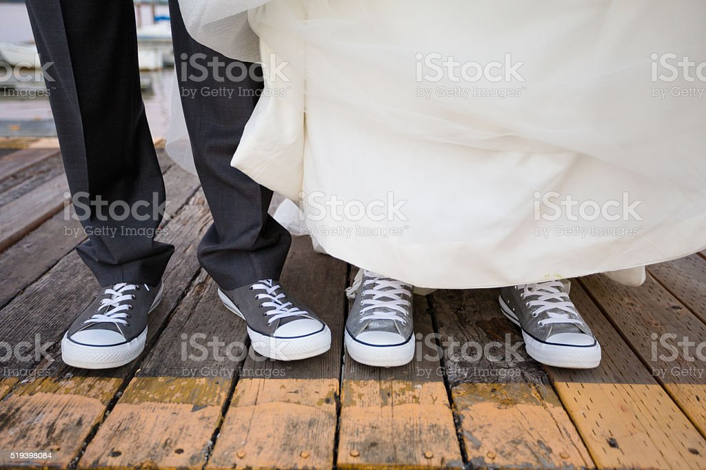 Bride and Groom Shoes stock photo