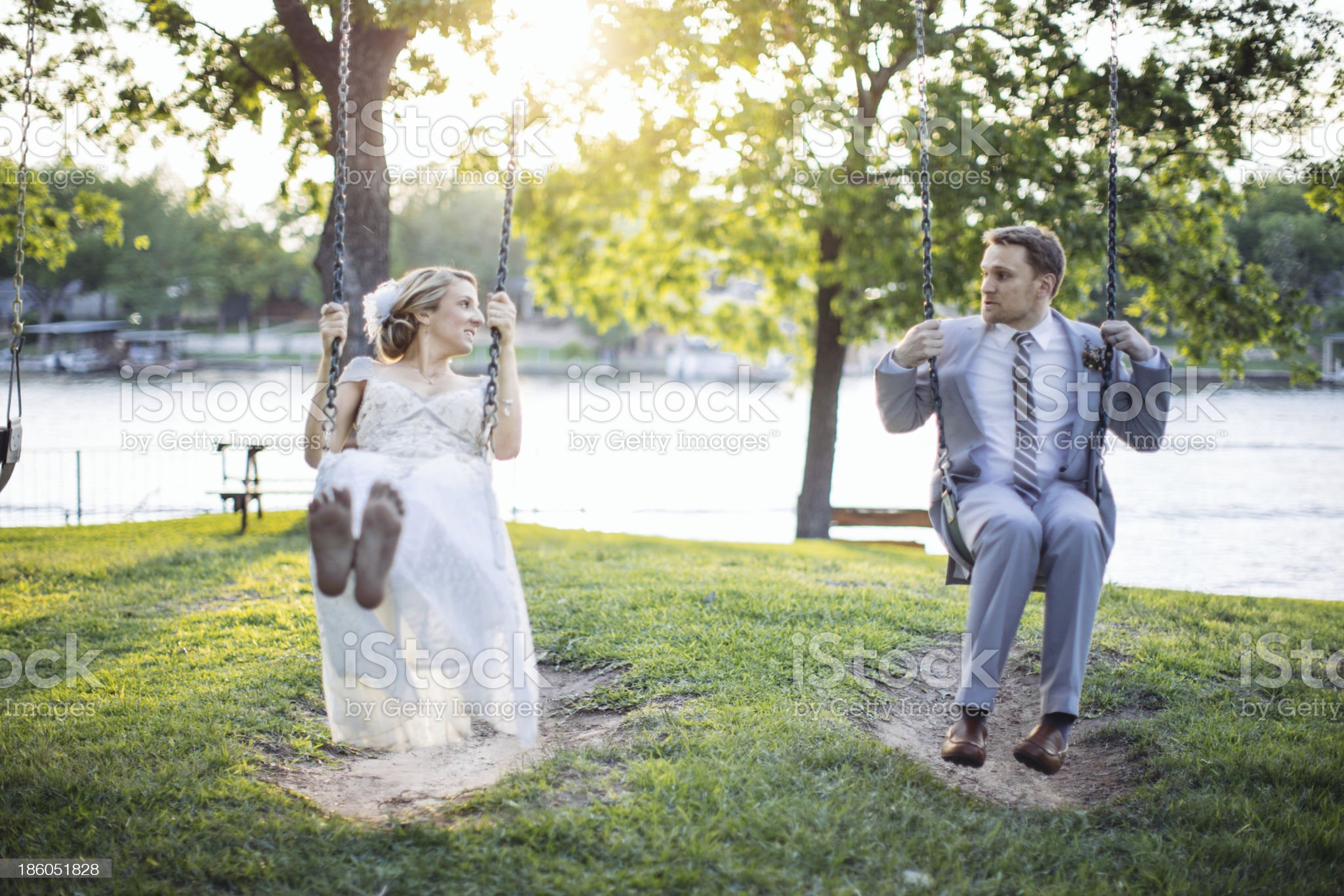 Bride and Groom Swinging royalty-free stock photo