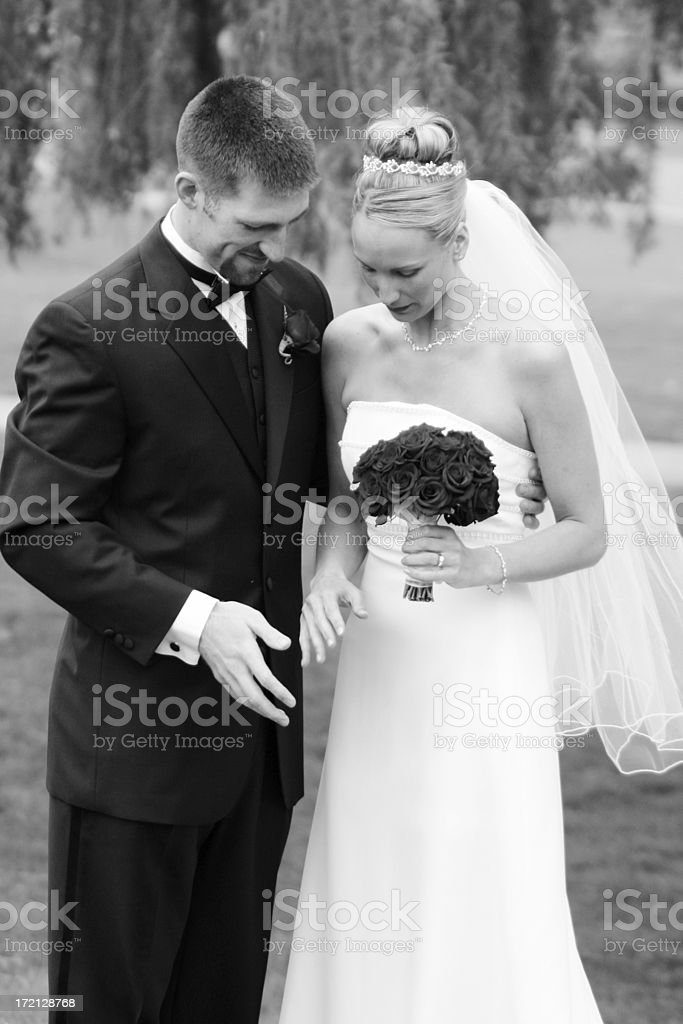 Bride and groom talking royalty-free stock photo
