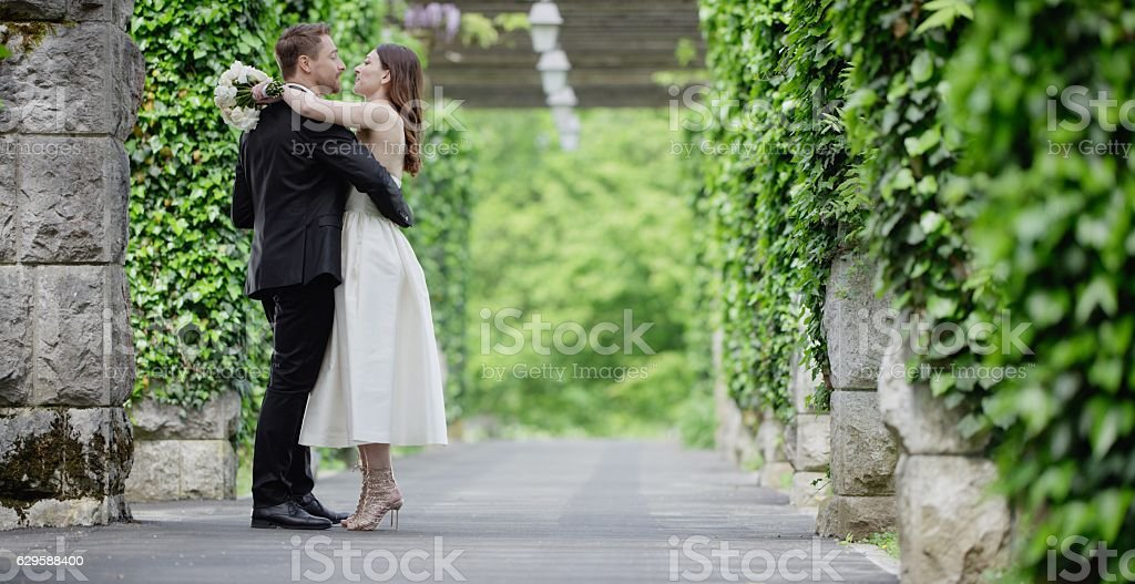 Bride and groom together in park stock photo