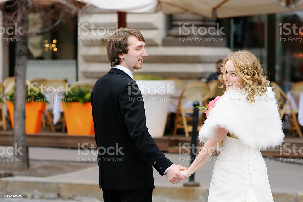Bride and groom together stock photo