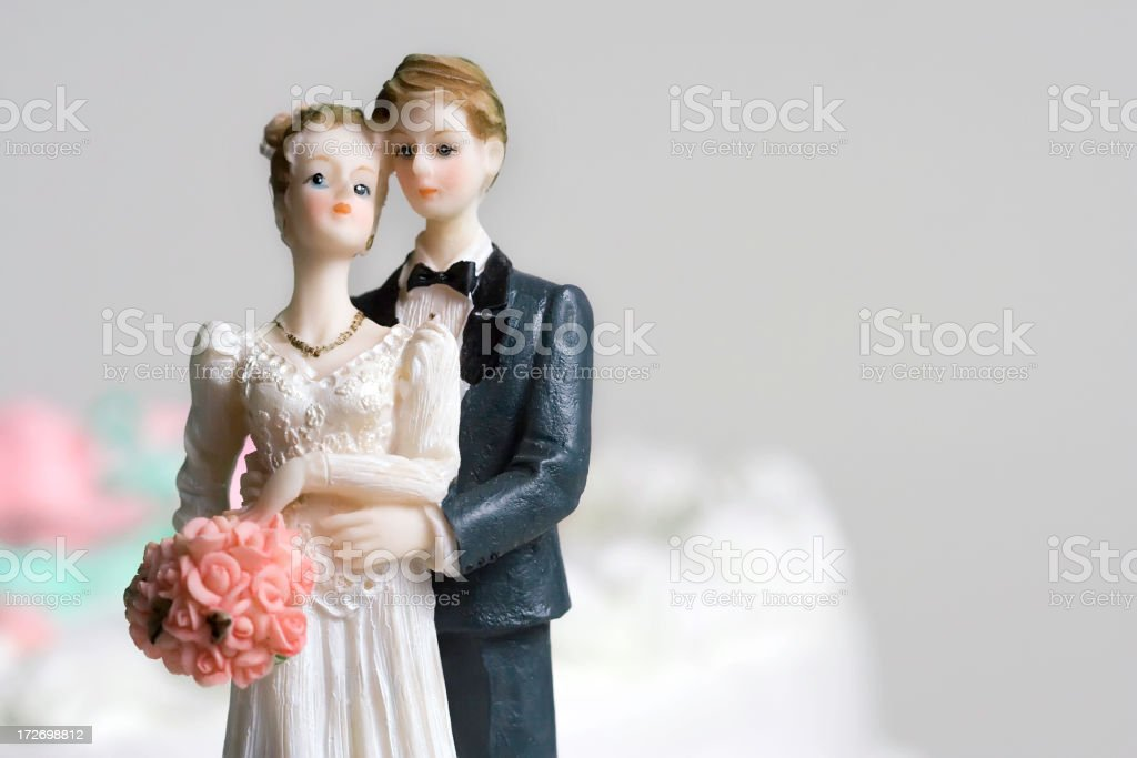 Bride and groom vintage cake topper ornament royalty-free stock photo